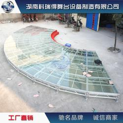 定制铝合金玻璃舞台 圆型玻璃舞台 酒店s型玻璃舞台厂家图片
