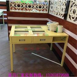 铁桌子,饭菜真湘桌子同款,家味湘天餐桌款式直接厂家做的带抽屉铁桌子图片