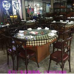 多功能带抽屉玻璃钢桌 饭菜真湘款式铁艺餐桌 湘菜餐厅钢化玻璃台面家具厂家图片