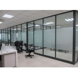 玻璃隔断隔墙钢化玻璃双玻带百叶办公室高隔断铝合金隔间图片