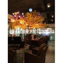 仿真銀杏樹假樹定制黃金樹發財許愿樹仿真金葉樹室內裝飾大型假樹圖片