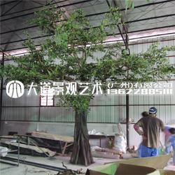 仿真榕树假树装饰实木定制包柱子玻璃钢大树酒店商场图片