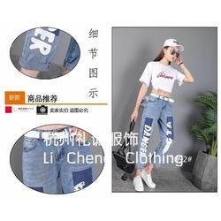 东升服装小商品市场潮牌牛仔裤品牌折扣女装货源图片
