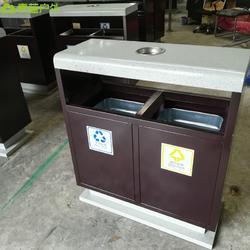 景区垃圾桶定制 特色果皮箱 仿石垃圾桶 青蓝钢板垃圾桶厂家图片