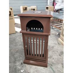 咖啡色钢板果皮箱 复古垃圾桶 青蓝6103广场果壳箱 室外垃圾桶厂家图片