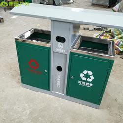 简约镀锌板单筒 双开门垃圾桶 城镇道路环卫桶 青蓝QL6213分类垃圾桶图片