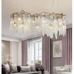 美式全铜奢华树藤琉璃水晶吊灯图片