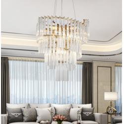 轻奢别墅酒店餐厅专用条形水晶灯图片