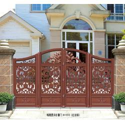 铝艺铁艺乡村庭院别墅对开双开电动悬浮折叠门铝合金艺术推拉大门图片