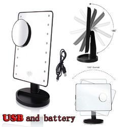LED化妆镜 台式桌面收纳台灯化妆镜 创意公主镜 多功能USB化妆镜图片