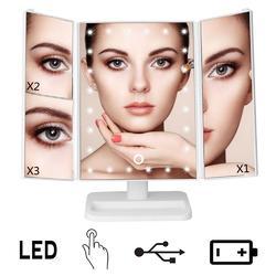 led化妆镜 桌面台式三折叠化妆镜带灯 收纳台灯led折叠镜桌面镜图片