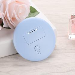 USB充电LED化妆镜 LED圆形化妆镜 简约手持便携发光小圆镜包包镜图片