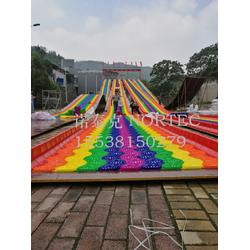 網紅項目七彩旱雪滑道廠家免費設計彩虹滑道價圖片