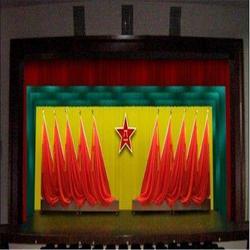 夏县平陆盐湖定做金丝绒舞台幕布 制作金丝绒对开舞台幕布图片