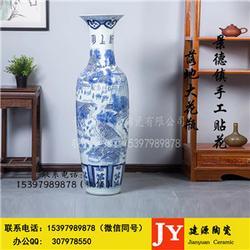 雕刻大花瓶摆件 花开富贵陶瓷大花瓶景区酒店医院乔迁摆饰图片
