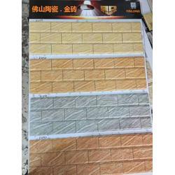 米黄色外墙劈开砖 陶土劈开砖 精美别墅外墙砖图片