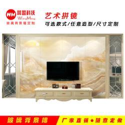 钢化玻璃背景墙、张家口玻璃背景墙、网盟信息背景墙哪家好图片