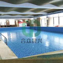 学校游泳池改造 纯色泳池胶膜 老旧游泳池改造 防水胶膜图片