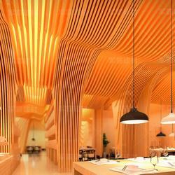 木纹铝方通吊顶厂家定做图片