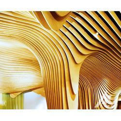 定制木纹弧形铝方通吊顶图片