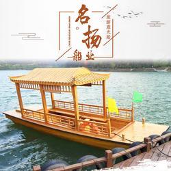 名扬船业供应6米小型画舫木船 电动玻璃钢游玩观光船图片