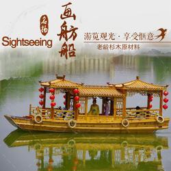 8米画舫观光木船 农庄玻璃钢画舫游玩餐饮船图片