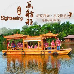 公园景区农庄餐饮船 8米画舫仿古木船 玻璃钢旅游船图片