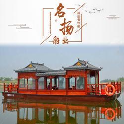 厂家直销豪华10米接待画舫船 电动玻璃钢观光游玩餐饮木船图片