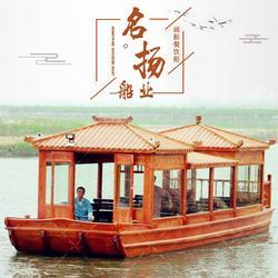 公园景区10米电动豪华画舫木船  农庄水上餐饮画舫船图片