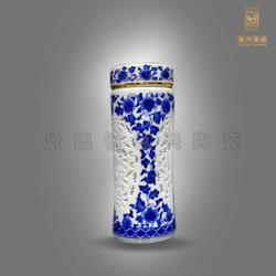 陶瓷双层保温杯 青花瓷保温杯 白瓷保温杯图片