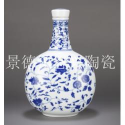 定做青花瓷酒瓶 中国红陶瓷酒瓶 麦秆画陶瓷酒瓶厂家图片