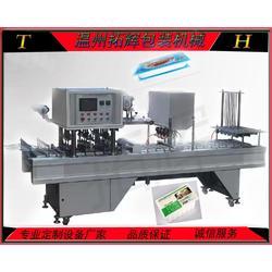 供应全自动盒装鸭血灌装封口机内脂豆腐封口机图片