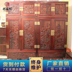 祥蕴阁红木顶箱柜一对 大红酸枝山水顶箱柜定制图片