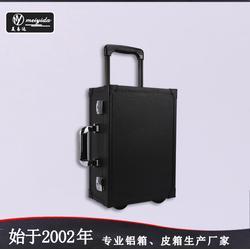 PU皮荔枝紋化妝箱專業單向輪拉桿化妝箱圖片