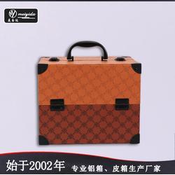 美易达专业皮革化妆箱手提PU化妆箱双开盘珠宝盒大容量多层首饰盒图片