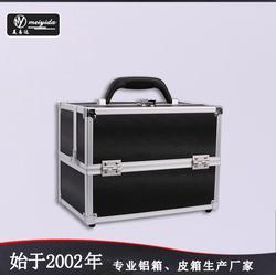 美易达多层手提化妆箱双开大号收纳专业工具箱韩版黑色手提化妆箱图片