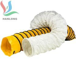 厂家直销黑色阻燃抗静电耐酸碱一级风筒用PVC涂层夹网风筒布图片