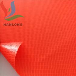 荧光三角警示牌面料 PVC荧光布 荧光红PVC夹网布图片