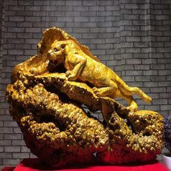 黄金樟根雕摆件一路爆发动物雕刻山水办公室客厅工艺品创意木雕图片