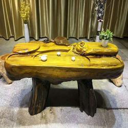 嘉匠根艺金丝楠木茶桌-黄金樟茶桌-根雕整体茶几-实木客厅办公室茶台图片