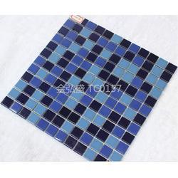 天蓝色冲浪游泳池马赛克厂家瓷砖图片