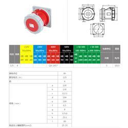 啟星供應 經濟型插座插頭QX-1457系列暗裝插座 4芯 125A工業防水圖片