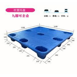 1111九脚吹塑塑料托盘1.1米*1.1米吹塑托盘配套地牛机械叉车图片