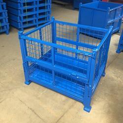 物流箱金属网格周转箱重型铁屑废料框堆垛料箱带轮带盖开门箱子图片