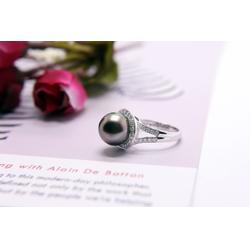 大溪地黑珠-大量供应精致的黑珍珠戒指图片
