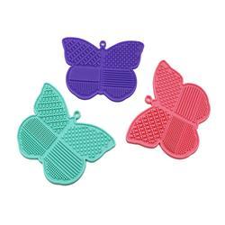 厂家直销新设计蝴蝶洗刷垫吸盘硅胶清洁垫毛刷清洁垫洗刷工具图片