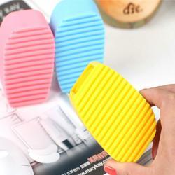 手握式糖果色硅胶洗衣刷家务清洁迷你洗衣板搓衣板清洁刷47g图片
