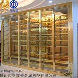 专业定制生产高端不锈钢香槟金恒温酒柜玫瑰金红酒展示柜图片