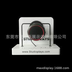 亚克力单个音响展架 多功能播放PCB体验台 白色音响金属挂式支架图片