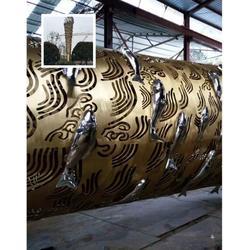 大型不锈钢鱼群雕塑 城市广场金属雕塑图片